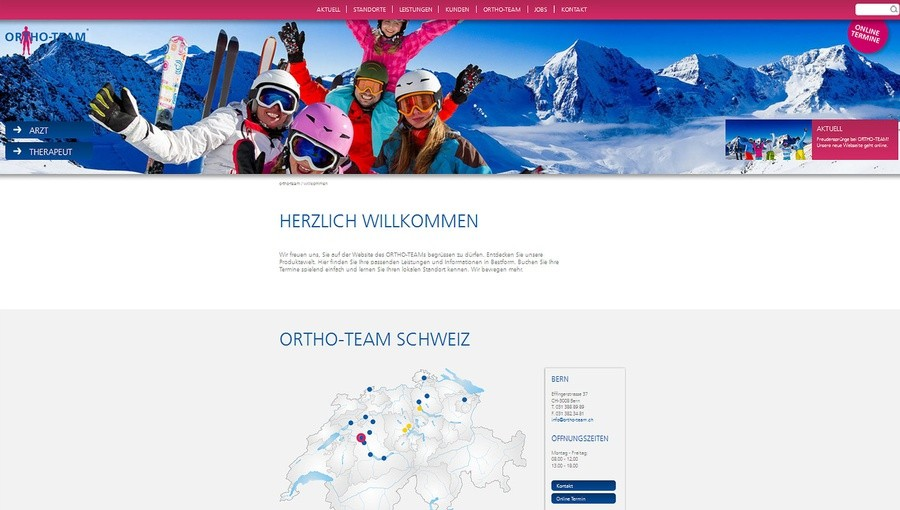 e621 werbeagentur bern ortho team website fully responsive