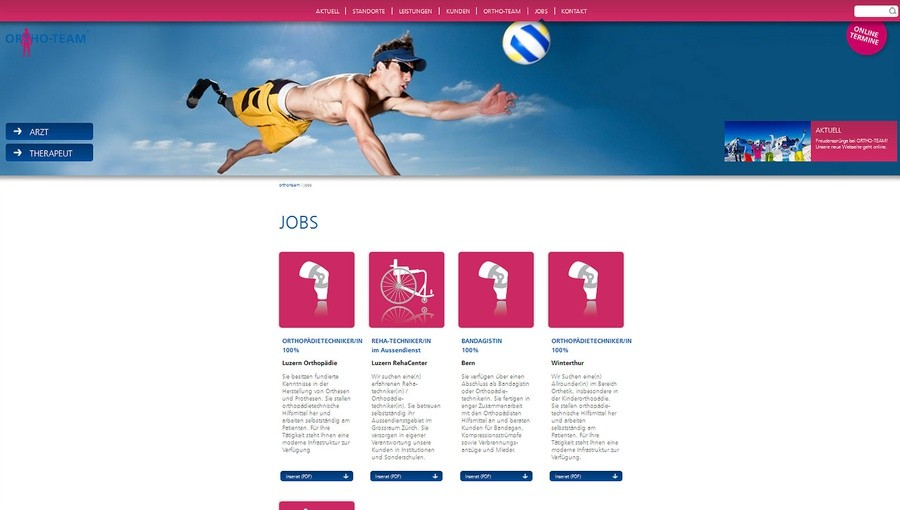 e621 werbeagentur bern ortho team website